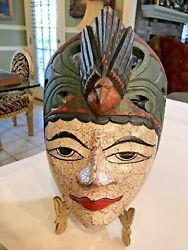 Indonesian Ceremonial Hand-carved Wood Mask Headdress Hanging Wall Plaque