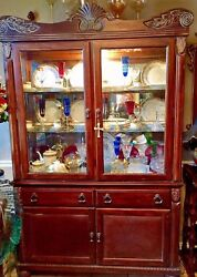 Vintage Cherry Wood China Cabinet Illuminated Glass Shelves Carved Shells And Ivy