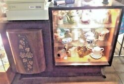 Antique Cocktail Cabinet Lighted Wine Bar Buffet Carved Accents And Glass Shelves