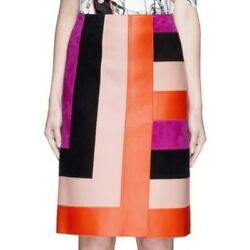 🎈emilio Pucci Andpound2400+ Patchwork Leather Skirt With Tags Made In Italy Size 36-40