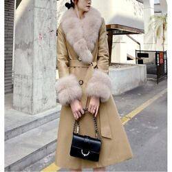 Womens Street Real Cow Leather Duck Down Jacket Fox Fur Collar Parka Thicken New