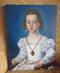 Antique 18th Century Portrait Painting Of A Noble Girl
