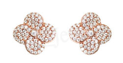 2.63ctw Natural Round Diamond 14k Solid Rose Gold Screw Back Stud Earring