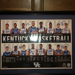 Kentucky Wildcats Basketball 2013-2014 Schedule Poster Autographed/ All Players