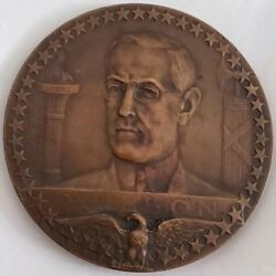 1917 Wwi French Bronze Medal Woodrow Wilson Us Entering Wwi Allies 68mm