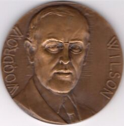 Wwi President Woodrow Wilson Liberty Justice Peace Bronze Medal. 68mm