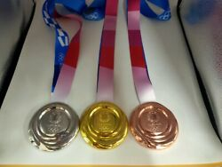 Full Set Of 3 Tokyo 2020 Olympic Medals Gold Silver Bronze With Ribbons Souvenir