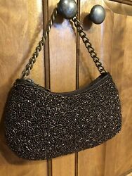 Banana Republic Small Beaded Shiny Evening Bag Chain Excellent Cond Brown Bronze $12.79
