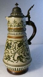 Large German Stein Hauber And Reuther Germany 241 Green Vines Earth Tone 3.ol
