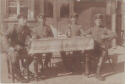 Rppc Wwi German Soldiers Officers Dining City Outdoors Bottle Wine E2