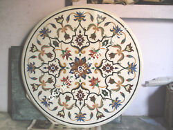 30 Round Marble White Table Top Marquetry Inlay Arts Decor Living Room E369