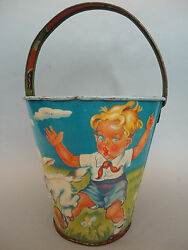 Vintage Rare Romanian Sand Bucket Pail Litho Tin Toy Amt - Pioneer Childs 50/60s