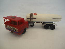 Vintage Poland Tin And Plastic Oil Fuel Tank Truck Trailer Toy