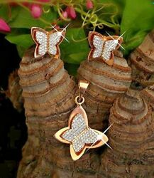 2.30ct Natural Round Diamond 14k Solid Rose Gold Wedding Butterfly Pendant Set
