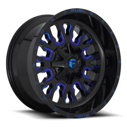 4 24x14 Fuel Gloss Black And Blue Stroke Wheels 6x135 And 6x139.7 For Ford Jeep