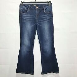 Sunrise 51 Soft Mid-Rise Flare Jeans in Medium Wash Denim sz 13