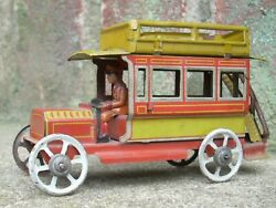 1915 Distler Tin Litho Penny Toy Double Decker Bus - Germany