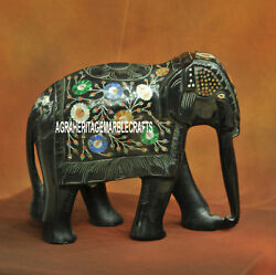 9'' Marble Elephant Trunk Down Marquetry Stone Inlay Home Decor Gifts Arts H3770