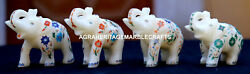 4 Pcs Antique Marble Elephant Trunk Up Mosaic Inlay Arts Home Decor Gifts H1968