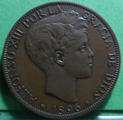 Very Rare, Unc, Alfonso Xiii, 20 Centimos,1896, Copper, Spain