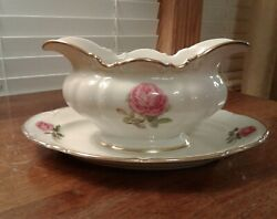 Vtg Hutschenreuther Selb Pink Rose The Dundee Pasco 7703 Gravy Attached Plate
