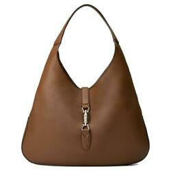 Gucci Brown Jackie Soft Pebbled Leather  Brown Hobo Hand Bag 362968 Designer Bag