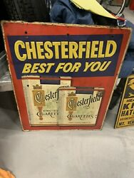 Vintage Chesterfield Cigarettes Embossed Metal Sign Gas Oil Soda Cola Tobacco