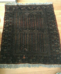 Vtg Antique Hand Knotted Wool Throw Rug Kurdistan - 3and0395 X 3and03910 As Found R25