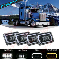 4x 4x6 Led Drl Headlights For Freightliner Kenworth T800 T400 W900 T600a Truck
