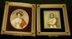 Pair 19c French Miniature Portrait Painting Signed W Gilt Bronze Jeweled Framed