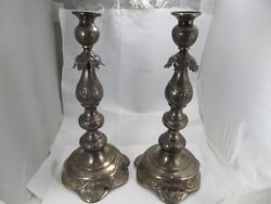 K Paston New York Antique Sterling Nicely Tooled Candlesticks Good Cond No Mono