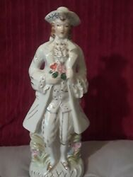 Vintage Figurines French Man Colonial Flowers amp; Gold Accents