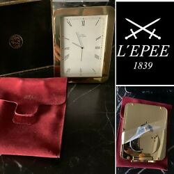 L'epee 1839 Paris Croisiere 1320 Gold Desk Clock With Original Box- Never Used