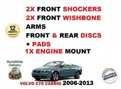 For Volvo C70 2x Front Shock Absorbers + Arms Front + Rear Discs + Pads