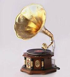 Gramaphone Vintage Style Wooden And Brass Made Hmv Gramophone To Play Record - N