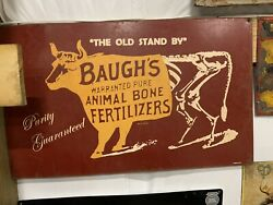Vintage Baughand039s Fertilizer Cow Farm Metal Sign Feed Seed Gas Oil Soda Cola 29x17