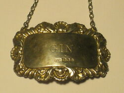 Vintage Antique Hallmarked R And K Gin Bottle Tag Liquor Id Decanter Label Charm