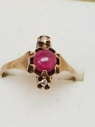 Victorian 12k Gold Antique Genuine Ruby And Diamond Ring ,1800s
