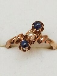 Victorian Antique 12k Rose Gold Genuine Sapphires And Pearl Ring,1800s