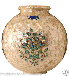 8 Marble Flower Pot Real Abalone Stone Inlay Mosaic Table Decor Gifts Arts