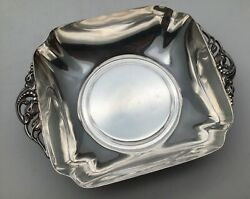 Vintage / Antique Reed And Barton Sterling Silver Square Bowl W/ Floral Handles