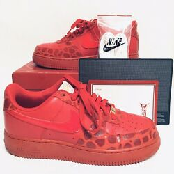 Nike Air Force 1 '82 Valentines Day Red Gold Women's 9 Box Card Coa 315115-600