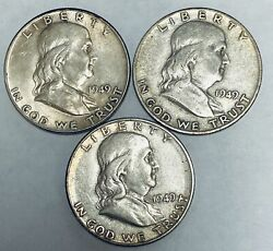 Lot Of 3 Franklin Silver Half Dollars 1949-p, 1949-d And 1949-s Au/bu
