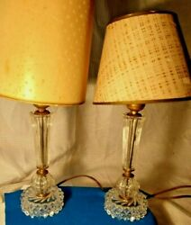 Art Deco Crystal Prism Cut Glass Vtg Antique Nightstand Table Lamps