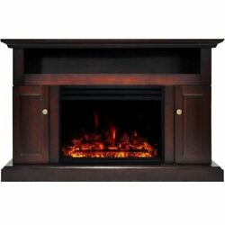 Sorrento Electric Fireplace Heater With 47 Mahogany Tv Stand