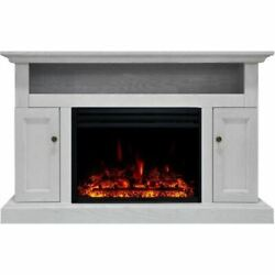 Cambridge Sorrento Electric Fireplace Heater With 47 White Tv Stand