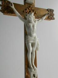 Large Antique French 1700s Crucifix Made Of Wood Porcelain 17.91