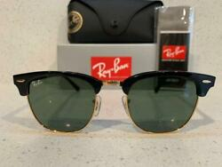 Ray Ban Clubmaster Sunglasses RB3016 W0365 Black Frame G 15 Green Lens $69.99