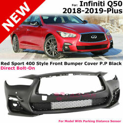 For 18-20 Infiniti Q50 | Red Sport 400 Style Front Bumper / Grey Fog Light Cover