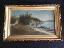 Antique Orrs Island Maine Oil Painting Signed George M Hathaway Listed Artist